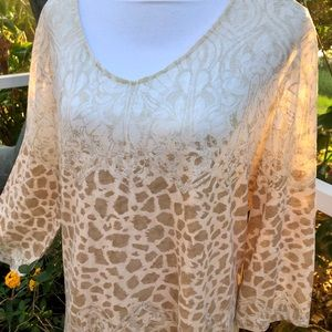 Chico's 16 Tan Gold & Cream 3/4 sleeve Knit Top